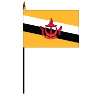 Brunei Mounted Flags - 4in x 6in