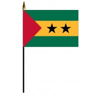 Sao Tome & Principe Mounted Flags - 4in x 6in
