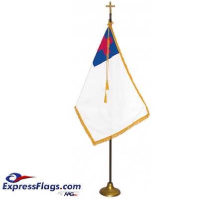Deluxe Oak Finish Pole Christian Flag Indoor Display SetsFSW-C