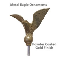 Flying Eagle Outdoor Flagpole Ornaments -  Gold Finish Metal