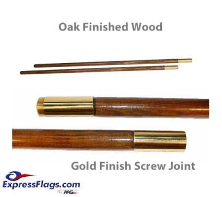Oak Finished Wood Indoor Poles - Gold Finish Solid Brass Screw JointPW-G