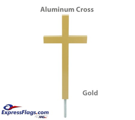 Aluminum Plain Cross Outdoor Flagpole Ornaments - Gold FinishPC-G