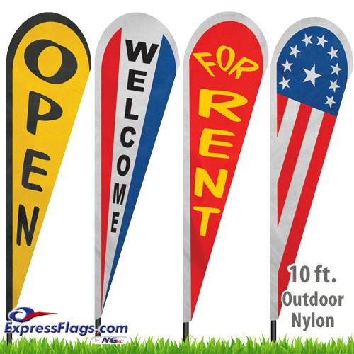 Nylon Stock Message Tear Drop Flags - 10 Ft.NYL-TD10-SM