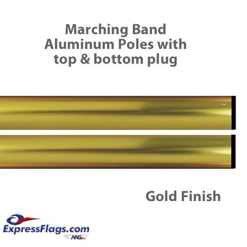 Aluminum Marching Band Poles - Top & Bottom Plug, GoldMP2-G