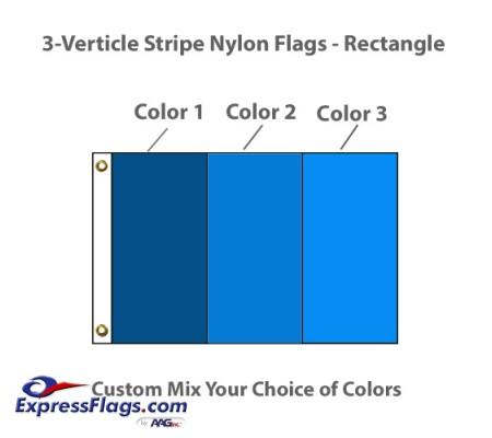 3-Verticle Stripe Nylon Flags - RectangleNY-R3VS