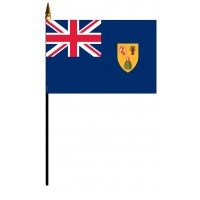 Turks & Caicos Mounted Flags - 4in x 6in