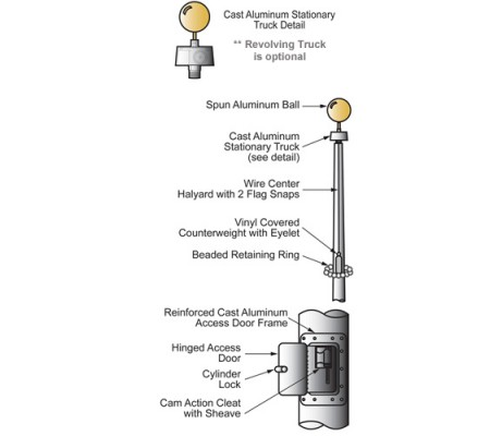 20 ft. Vanguard Aluminum Flagpole (0.125) - Internal HalyardECXV20