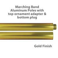 Aluminum Marching Band Poles - Ornament Adapter & Bottom Plug, Gold
