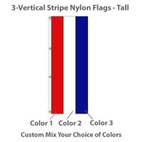 3-Vertical Stripe Nylon Tall Flags - 8' x 3'