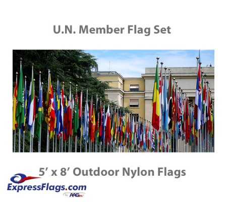 5  x 8  Complete U.N. Member Flags - 193 Outdoor Nylon Flags034641