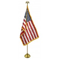 Deluxe Aluminum Pole U.S. Flag Indoor Display Sets