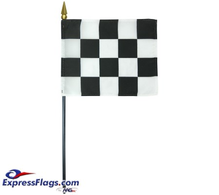 4in x 5in E-Gloss Checkered Stick Flag110040