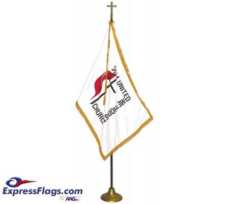 Deluxe Oak Finish Pole United Methodist Flag Indoor Display SetsFSW-UM