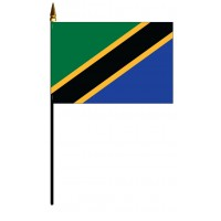 Tanzania Mounted Flags - 4in x 6in