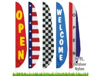 Nylon Stock Message Feather Flags - 12 Ft.