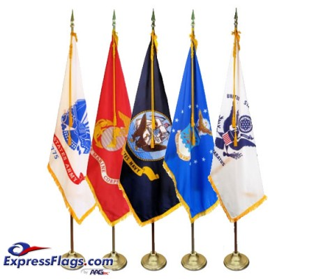 3  x 5  Budget Indoor U.S. Military Flag Sets (5 Branches)