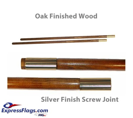 Oak Finished Wood Indoor Poles - Chrome Plated Solid Brass Screw JointPW-S