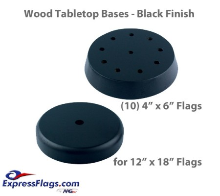 Wood Tabletop Flag Bases - Black FinishStyle 3
