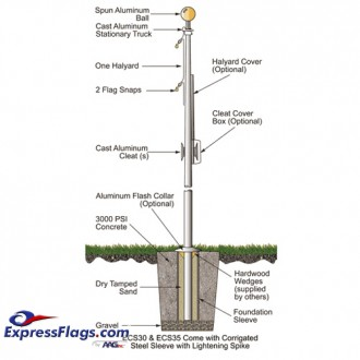 25 ft. Budget Aluminum Flagpole (0.125) - 4 Section External Halyard SS25FS