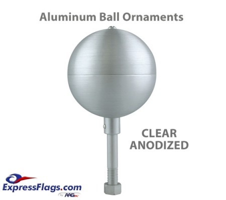 Aluminum Ball Outdoor Flagpole Ornaments - Clear AnodizedSB-CA