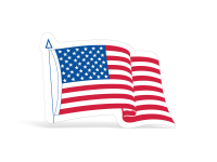 Die-Cut American Flag Decals - 3-1/4 in x 4 in