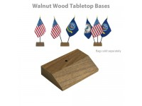 Walnut Wood Tabletop Flag Bases