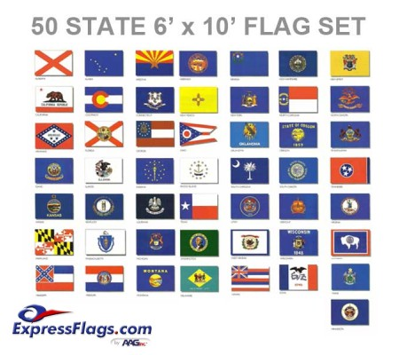 6  x 10  50 State Flag Set - Endura-Nylon022072