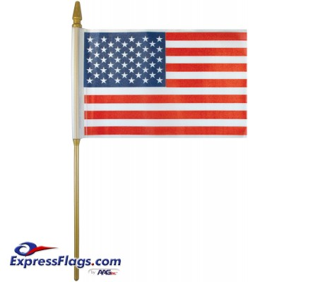 Plastic U.S. Stick Flags - 4in x 6in - Made in USA010247