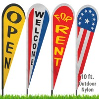 Nylon Stock Message Tear Drop Flags - 10 Ft.