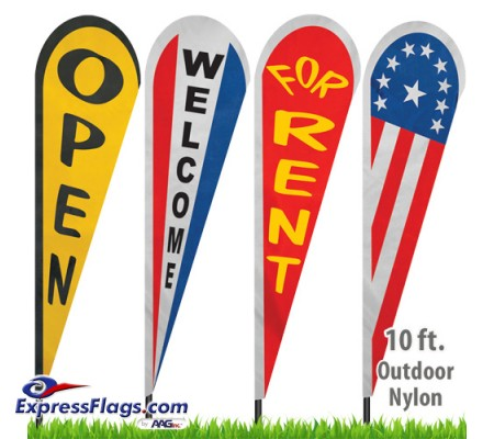 Nylon Stock Message Tear Drop Flags - 10 Ft.NYL-TD10-SM