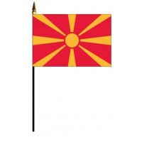 Macedonia Mounted Flags - 4in x 6in