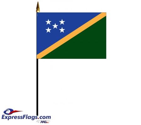 Solomon Islands Mounted Flags - 4in x 6in033793
