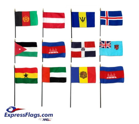 4in x 6in World Stick Flags - MountedISF-46