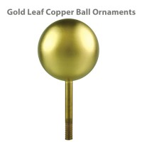 Copper Ball Outdoor Flagpole Ornaments - Gold Leaf Finish
