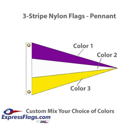 3-Stripe Nylon Flags - PennantNY-P3S