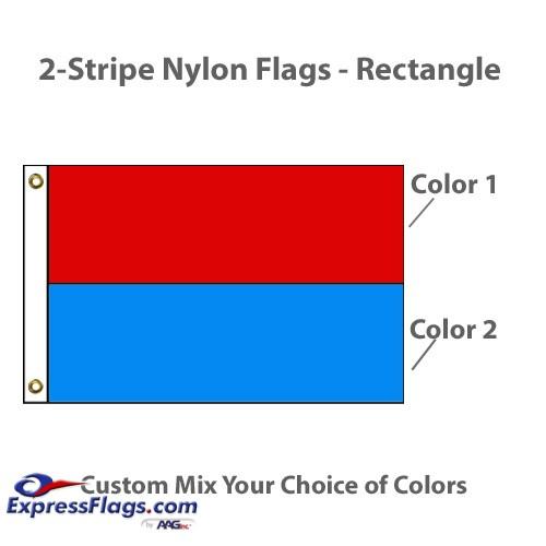2-Horizontal Stripe Nylon Flags - RectangleNY-R2S