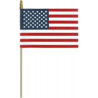 No-Fray Cotton U.S. Stick Flags - Spear Tip - Made in USA