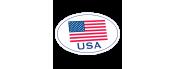 Oval American Flag Die-Cut Decals - 4 in x 6 in
