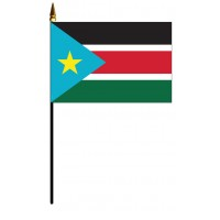 South Sudan Mounted Flags - 4in x 6in