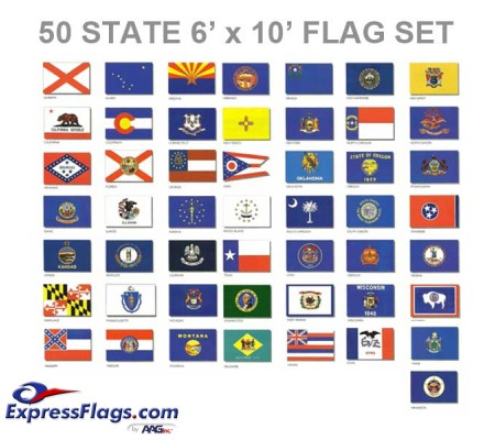 6  x 10  50 State Flag Set - Endura-Nylon022072