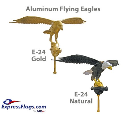 10in Aluminum Flying Eagle Outdoor Flagpole Ornaments - 24in Wing SpanE-24