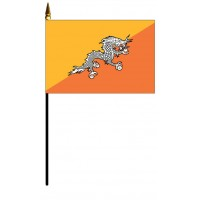 Bhutan Mounted Flags - 4in x 6in