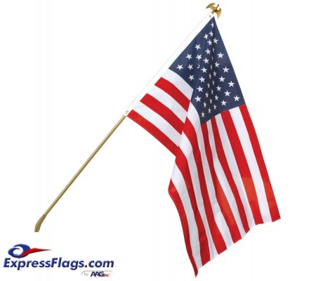 Ultimate U.S. Flag & Flagpole Set - Wall Mount010151