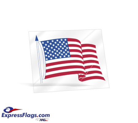 Clear Static Cling American Flag Decals - 3-1/2 in x 4-1/4 inGL-5928