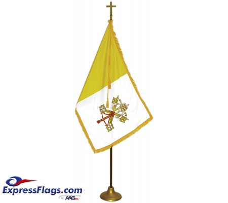 Deluxe Aluminum Pole Papal / Catholic Flag Indoor Display SetsFPA