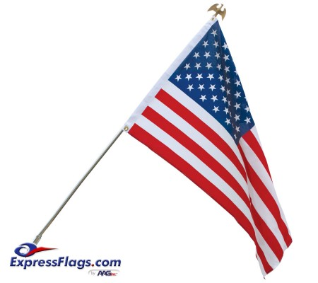 Economy U.S. Flag & Flagpole Set - Wall MountE-USFS