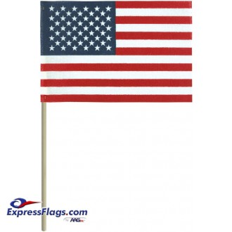 4in x 6in No-Fray Cotton U.S. Stick Flags - No Tip (12 pack)010221-12