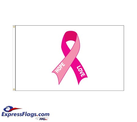 Pink Ribbon Nylon Flags - SewnPRFS-NY