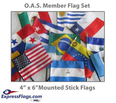 4in x 6in Complete O.A.S. Member Stick Flags - 35 Mounted Flags034644