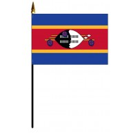 Swaziland Mounted Flags - 4in x 6in